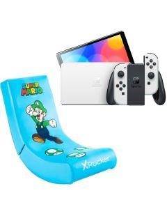N.S OLED Model w/ White Joy-Con - White With  X-Rocker Video Rocker Luigi Gaming Chair