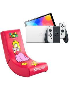 N.S OLED Model w/ White Joy-Con - White With X-Rocker Video Rocker Peach  Gaming Chair