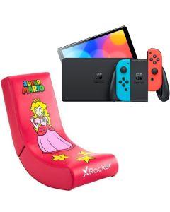 N.S OLED Model w/ Neon Red & Neon Blue Joy-Con With X-Rocker Video Rocker Peach  Gaming Chair
