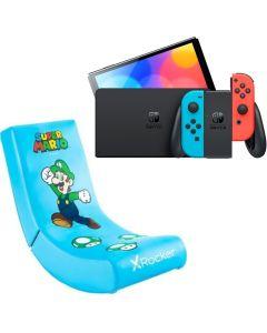 N.S OLED Model w/ Neon Red & Neon Blue Joy-Con With  X-Rocker Video Rocker Luigi Gaming Chair