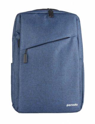 PORODO LIFESTYLE NYLON FABRIC COMPUTER BACKPACK 15.6' (USB CHARGING 2A ) - BLUE