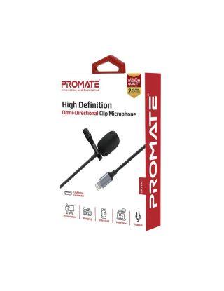 Promate ClipMic-i High Definition Omni-Directional Clip Microphone - Black