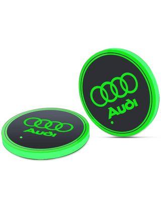 LED CAR LOGO CUP LIGHTS UP HOLDER USB CHARGING 7 COLOURS FOR AUDI