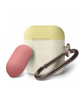 Elago Airpods 1 And 2 Duo Hang Case - Body-Night Glow Gold Pearl / Top-Yellow, Italian Rose