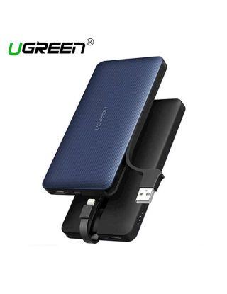 Ugreen 10000mAh Powerbank Built in lightning + USB Cable - Jazz Blue