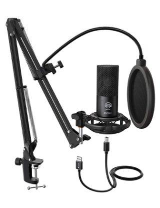 FIFINE Studio Condenser USB Microphone (Kit with Adjustable Scissor Arm Stand Shock Mount)-T669