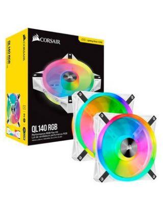 Corsir iCUE QL140 RGB 140mm PWM White Fan — Dual Fan Kit with Lighting Node CORE