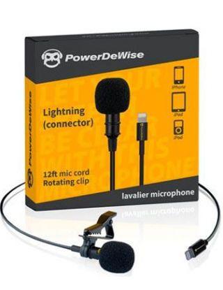 MINI MIC BY POWERDEWICE LIGHTNING CONNECTOR MIC CORD ROTATING CLIP - BLACK